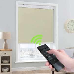 Keego Motorized Blinds Smart Window Roller Blinds Remote Control 100% Blackout Room Darkening Cordless Automated Blinds Indoor