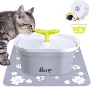 PETRIP Pet Water Fountain, 94oz 2.8L Automatic Cat Water Fountain Dog Water Bowl Dispenser for Cats Dogs Multiple Pets with 3 Replacement Filters,1 Silent Pump,1 Silicone Mat,1 LED Lights