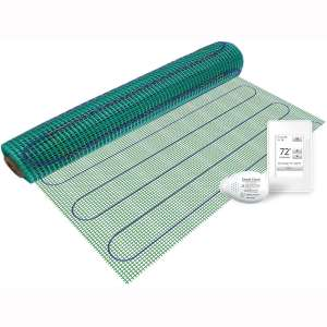WarmlyYours TRT120-KIT-OW-3.0x03 Tempzone Easy Electric Floor Heating Mat Kit, 9 sq. ft, Wi-Fi Touch Screen Thermostat
