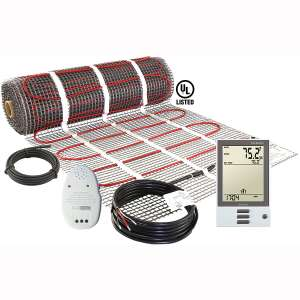 LuxHeat 70 Sqft Mat Kit (240v) Electric Radiant Floor Heating System for Under tile, Stone & Laminate. Includes Self-Adhesive Heat Mat