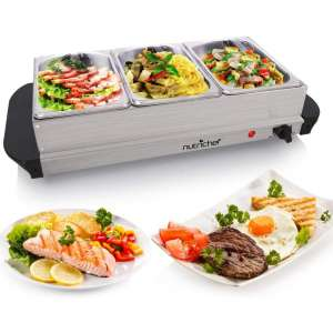 NutriChef Hot Plate Food Warmer, Buffet Server Chafing Dish Set, Portable Stainless Steel Electric Warming Tray