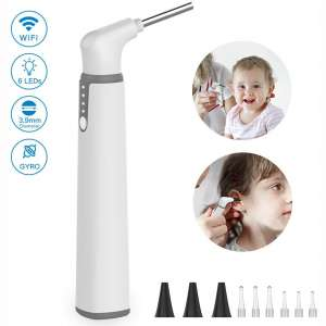 Wireless Otoscope, 3.9mm Ultra-Thin WiFi Ear Scope Camera with Earwax Removal Tool and 6 LED Lights, Ear Cleaner with Tmperature Control and Gyroscope