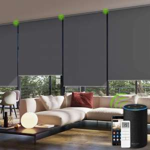 Yoolax Motorized Blinds Remote Control Auto Blinds Blackout Motorized Roller Shade with Valance Customized