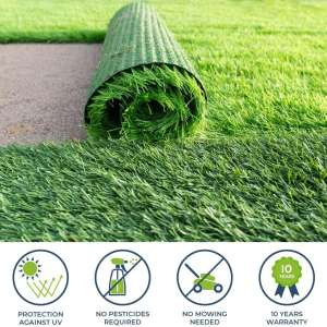 PZG 1-inch Artificial Grass Patch Drainage Holes & Rubber Backing 4-Tone Realistic Synthetic Grass Mat