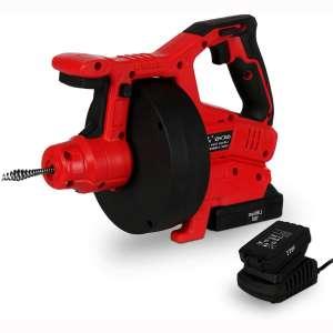 Fullwatt 27Ft Drain Auger Automatic Cordless Drain Snake with LED Light