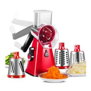 Masthome 3-In-1 Rotary Cheese Grater Manual Shredder with Interchangeable Stainless Steel Blade