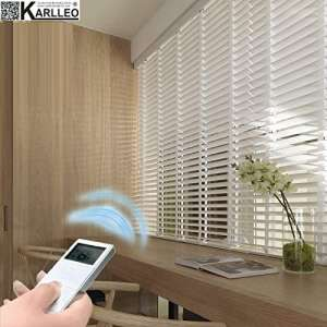 Motorized Basswood Venetian Blinds Curtain (Remote Control,Power110-240V) Website Priced at Motorize