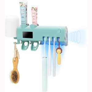 SHUKAN UV Toothbrush Holder 2 Toothpaste Dispenser Bathroom Toothbrush Holder Wall Mounted with Drying Function