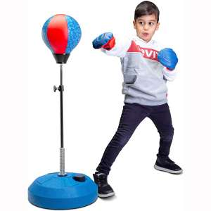 Tech Tools Punching Bag for Kids, Boxing Set with Stand, Kids Boxing Gloves Included