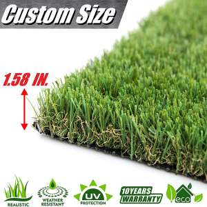 ColourTree 4' x 6.5' (26 Square Ft) 1.58 Grass Height TGA 4 Tones Artificial Turf Faux Grass Mat Lawn Rug