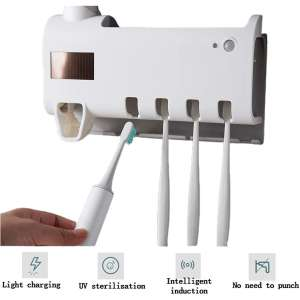 UV Toothbrush Sterilizer Auto-recharge with Light Disinfection Wall Mounted Toothbrush Holder