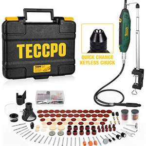 Upgraded Rotary Tool TECCPO 200W 1.8 amp, 10000-40000RPM, 6 Variable Speed with Flex shaft, Universal Keyless Chuck