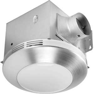 Homewerks Worldwide 7117-01-BN Bathroom Fan Integrated LED Light Ceiling Mount Exhaust Ventilation 1.1 Sones 80 CFM