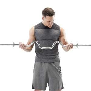 Marcy Triceps and Biceps Combo Curl Bar 1-inch Weight Plate