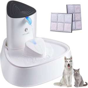 PUPTECK Pet Fountain - Automatic Super Quiet Cat Water Fountain with LED Light, Baffle and 2 Replacement Activated Carbon Filter