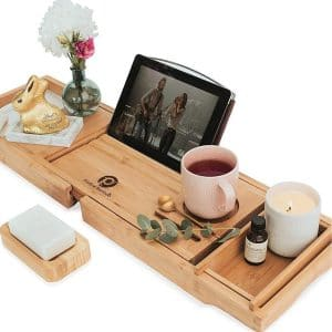 Pristine Bamboo Bath Caddy Tray for Tub - Expandable Bath Tray for Two, Bath Tub Tray for Bath with iPad iPhone Book and Wine Glass Holder