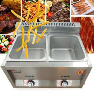 Electric Buffet Server Warming Tray Stainless Steel with 2 Chafing Dishes Pan Hot Plate Food Warmer Steamer