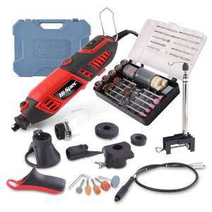 Hi-Spec 135 Piece 170W Rotary Power Tool Kit with 1m Flexi Drive Shaft, Clamp Stand, Cutting Guides, Handle