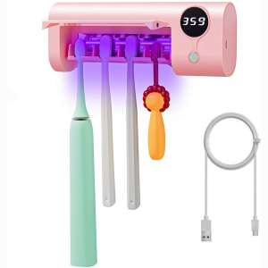SHUKAN UV Toothbrush Sanitizer, Bathroom Toothbrush Holder Wall Mounted with Sterilizer Function, 1500mAh USB Charging, Timing Function