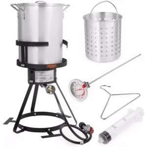Stark Deluxe 30 QT Aluminum Turkey Deep Fryer Pot Boiling Lid