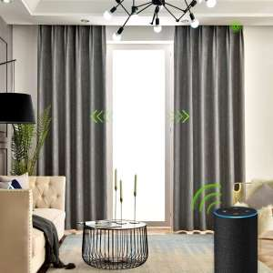 Yoolax Motorized Electric Blackout Curtain Texture Thermal Insulated Drapes Compatible with Alexa and Google Home Remote Control Smart Curtain Customized