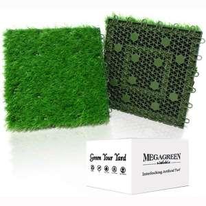 Artificial Grass Turf Interlocking GrassTiles, Multipurpose Soft Grass Rug, 12''x12'' Self-draining Mat for Outdoor Patio, Balcony, Garden, Dog Potty-Pads