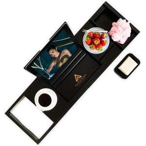 Auramor Bamboo Bathtub Tray Caddy (Black) Wide, Expandable Luxury Bath