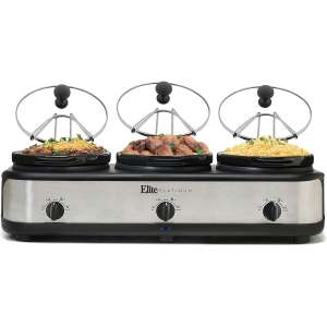 Elite Platinum EWMST-325 Triple Slow Cooker Buffet Server, Adjustable Temp Dishwasher-Safe Oval Ceramic Pots