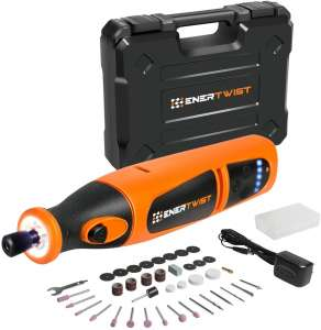 EnerTwist 8V Max Cordless Rotary Tool Kit Lithium-Ion Battery Powered Variable Speed Micro Drill Set with Front LED Worklight and 40 Accessories