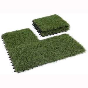 GOLDEN MOON Artificial Grass Turf Tile Interlocking Self-draining Mat