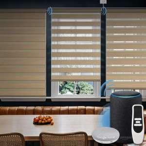 Graywind Motorized Zebra Sheer Shade Compatible with Alexa Google WiFi Smart Home Hardwired Plug-in Horizontal Window Blinds Window Shades
