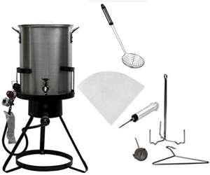 Outdoor Heavy Duty Steel 50,000 BTU Propane 30 Quart Deep Turkey Fryer with Spigot Pot, Plus Injector, Skimmer and Oil Filter
