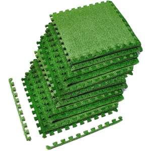 Sorbus Grass Mat Interlocking Grass Tiles – Soft Artificial Carpet Grass Turf – Multipurpose Fake Grass Flooring