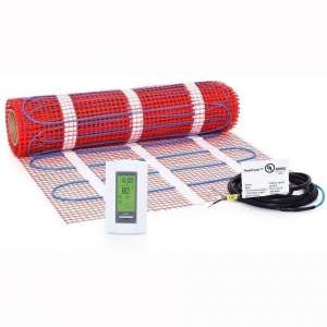 25 sqft, 120V Heattech Electric Radiant Floor Heating Mat In-floor Tile Stone Heating with Adhesive Backing, Sticky Mesh + AUBE TH115-AF-120S radiant floor