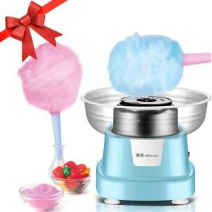 Cotton Candy Maker, Cotton Candy Machine for Home Birthday Family Party Christmas Gift - Includes 10 Cones And Sugar Scoop (Blue)