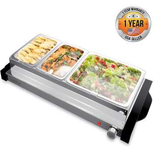 Electric Hot Plate Food Warmer - Triple Buffet Server Chafing Dish Set, Portable Countertop Stainless Steel Electric Warming Tray