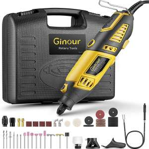 GINOUR Rotary Tool with MultiPro Keyless Chuck and Flex Shaft - 114pcs Accessories, 7 Variable Speeds, 4 Attachments