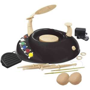 Beginners Pottery Wheel Kit for Kids with Clay, Paints, and Tools