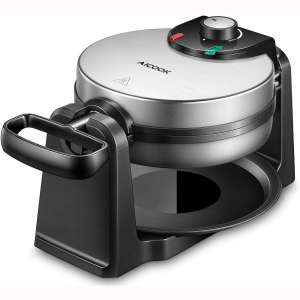 Belgian Waffle Maker, AICOOK 180° Flip Double Waffle Iron 4-Slice, Non-Stick Plates, Removable Drip Tray & Rotating