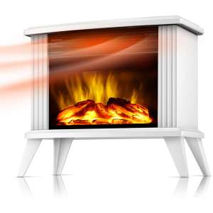 DONYER POWER 14.5 Mini Electric Fireplace Tabletop Portable Heater, 1500W, White Metal Frame,Room Heater,Space Heater