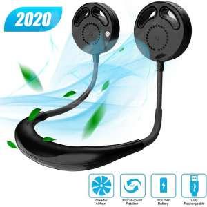 Neck Fan Hands Free Portable Fan Mini USB Personal Fan 2000mAh Rechargeable Sport Fan Wearable Neckband Fan