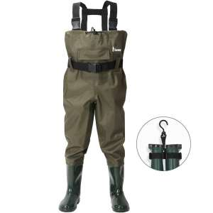Ouzong Chest Waders for Kids, Lightweight Cleated Nylon and PVC Fishing Bootfoot Chest Waders