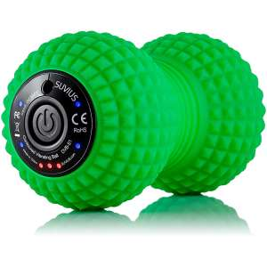 SUVIUS Peanut Electric Vibrating Rechargeable Foam Roller - 4 Intensity Levels for Firm Battery