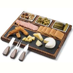 Shanik Cheese Board With Black Slate Blade and 3 Stainless Steel Cutlery Set, Acacia Wood Charcuterie Board and Cheese Serving Platter