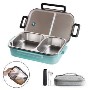 WORTHBUY Stainless Steel Lunch Container, 2 Section Design, Keep Foods Separated, Metal Bento Box with Insulated Lunch Bag