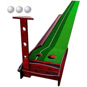 Wood Golf Putting Mat Come with 3 Golf Balls- Portable Mat with Auto Ball Return Function