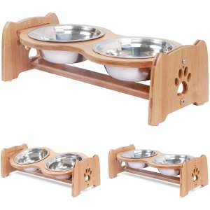 X-ZONE PET Raised Pet Bowls for Cats and Dogs, Adjustable Bamboo Elevated Dog Cat Food