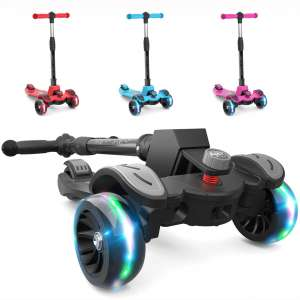 6KU Kids Kick Scooter with Adjustable Height Scooter, Lean to Steer, Widened LED Wheels for Children Age 3-8 Years Old