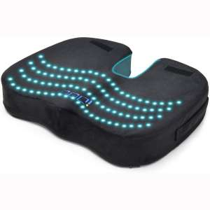 Cooling Gel Seat Cushion for Office Chair, 100% Memory Foam Gel Seat Cushion, iDOO Coccyx Orthopedic Pad for Tailbone Pain, Kitchens Chair Car Seat Cushion, Sciatica & Back Relief - Black
