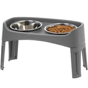IRIS Pet Elevated Feeder with Stainless Steel Bowls